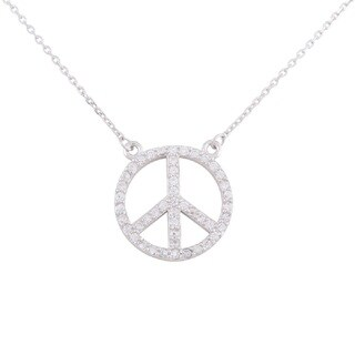 Sterling Silver Rhodium Plated Cubic Zirconia Peace Sign Chain Necklace