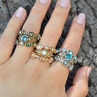 Sweet Romance Set of 3 Inspirational Crystal Stack Rings Rings Set