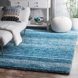 nuLOOM Handmade Soft and Plush Striped Kids Shag Sky Blue Rug (8'9 x 12')