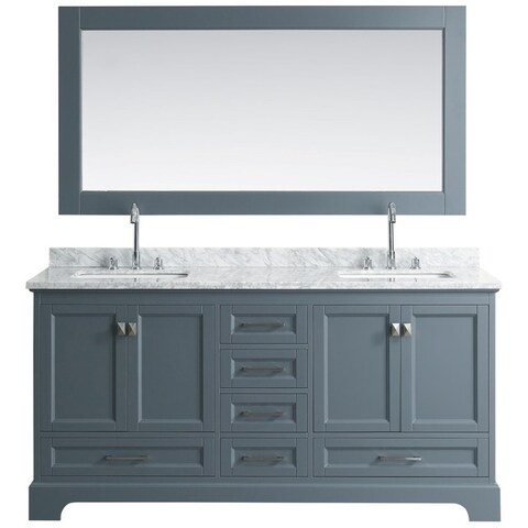 Design Element Omega Grey 72-inch Double-sink Vanity Set with Mirror