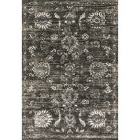 Distressed Antique Charcoal/ Silver Vintage Inspired Rug - 6'7 x 9'2