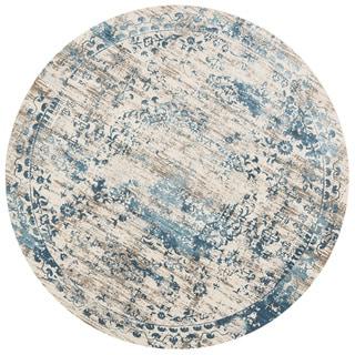 """Augustus Ivory/ Blue Rug (7'10 x 7'10 Round) - 7'10"""" x 7'10"""" Round"""