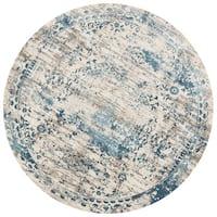Augustus Ivory/ Blue Rug - 7'10 x 7'10 Round