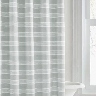 Vera Wang Linear Stripe White Green Shower Curtain