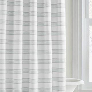 Vera Wang Linear White Stripe Shower Curtain