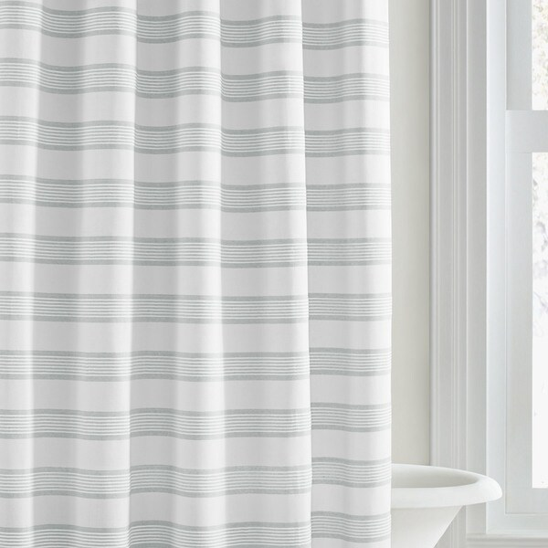 Vera Wang Linear White Stripe Shower Curtain