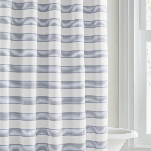 Vera Wang Linear Blue Stripe Shower Curtain