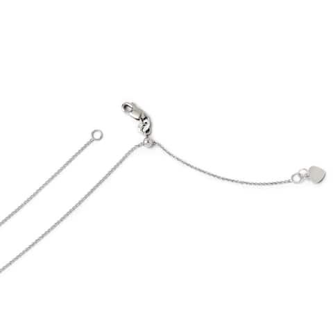 Versil 14 Karat White Gold .7 mm Round Cable Adjustable Chain