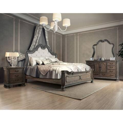 Furniture of America Brey Rustic Brown Solid Wood 4-piece Bedroom Set