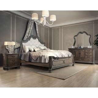 Furniture of America Brigette Traditional 4-piece Ornate Rustic Natural Tone Bedroom Set