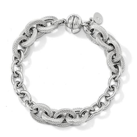 Versil Sterling Silver Polished Textured Link Magnetic Clasp Bracelet