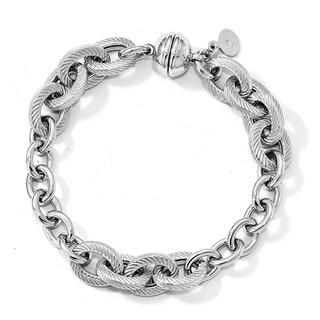 Sterling Silver Polished Textured Link Magnetic Clasp Bracelet