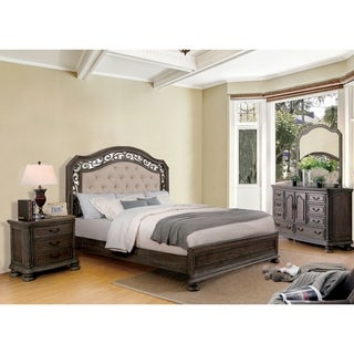 Furniture Of America Brigette II Traditional 4 Piece Tufted Upholstered  Rustic Natural Tone Bedroom Set