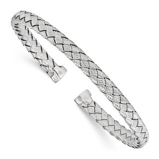 Sterling Silver Polished Woven Cuff Bangle