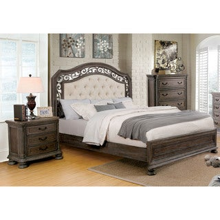 Furniture of America Brigette II Traditional 2-piece Tufted Upholstered Rustic Natural Tone Bed and Nightstand Set - Taupe