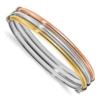 Sterling Silver Rose & Gold-tone Polished Bangle