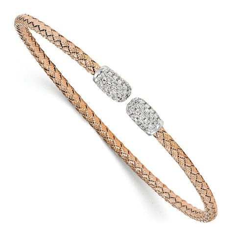 Sterling Silver Rose-tone CZ Woven Cuff Bangle by Versil