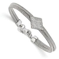 Sterling Silver CZ With 1in ext. Bracelet