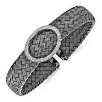 Sterling Silver CZ Black Woven Flexible Cuff