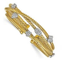Sterling Silver Gold-plated CZ Polished Textured Cuff Bangle