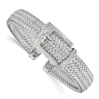 Sterling Silver CZ Polished Woven Cuff Bangle