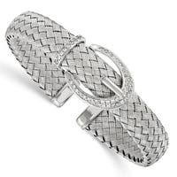 Sterling Silver CZ Woven Flexible Cuff Bangle