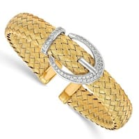 Sterling Silver Gold-tone CZ Woven Flexible Cuff Bangle