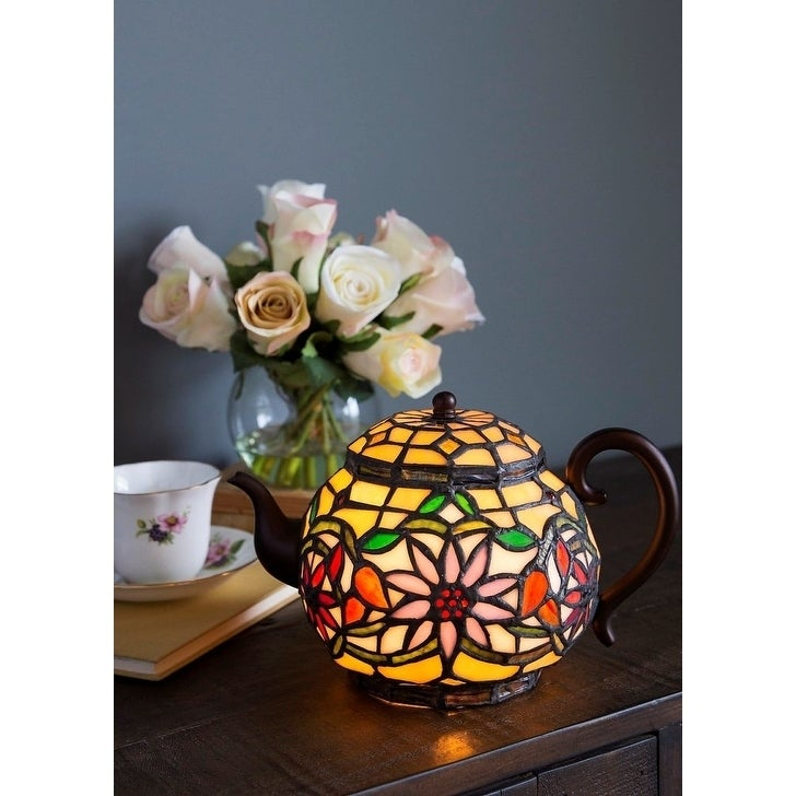 Copper Grove Carnach 6.5-inch high Stained Glass Teapot Accent Lamp