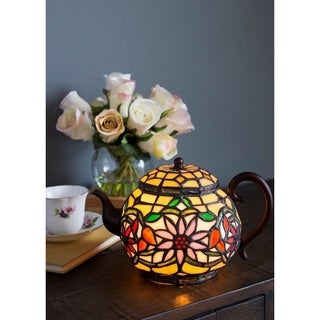 "6.5"" H Stained Glass Teapot Accent Lamp"