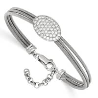 Sterling Silver CZ Polished Bracelet With 1in ext.