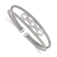 Sterling Silver CZ Flexible Cuff Bangle