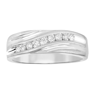 1 4 Cttw Round White Natural Diamond Men S Band Ring 10K White Yellow Gold