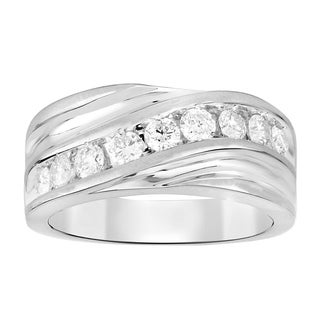 1 00 Cttw Round Natural White Diamond Men S Band Ring In Solid 10K White Yellow Gold