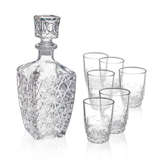 Bormioli Rocco Dedalo Whiskey Glasses with Decanter ( 7 piece set)