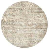 Distressed Antique Ivory/ Light Grey Vintage Inspired Round Rug - 9'3 x 9'3