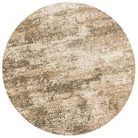 Distressed Antique Beige/ Taupe Vintage Inspired Round Rug - 9'3 x 9'3