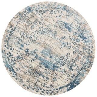 Distressed Antique Blue/ Ivory Vintage Inspired Round Rug - 9'3 x 9'3