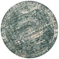 Distressed Antique Dusty Blue Vintage Inspired Round Rug - 9'3 x 9'3