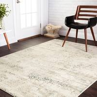 Distressed Antique Ivory/ Grey Vintage Inspired Rug - 9'3 x 13'
