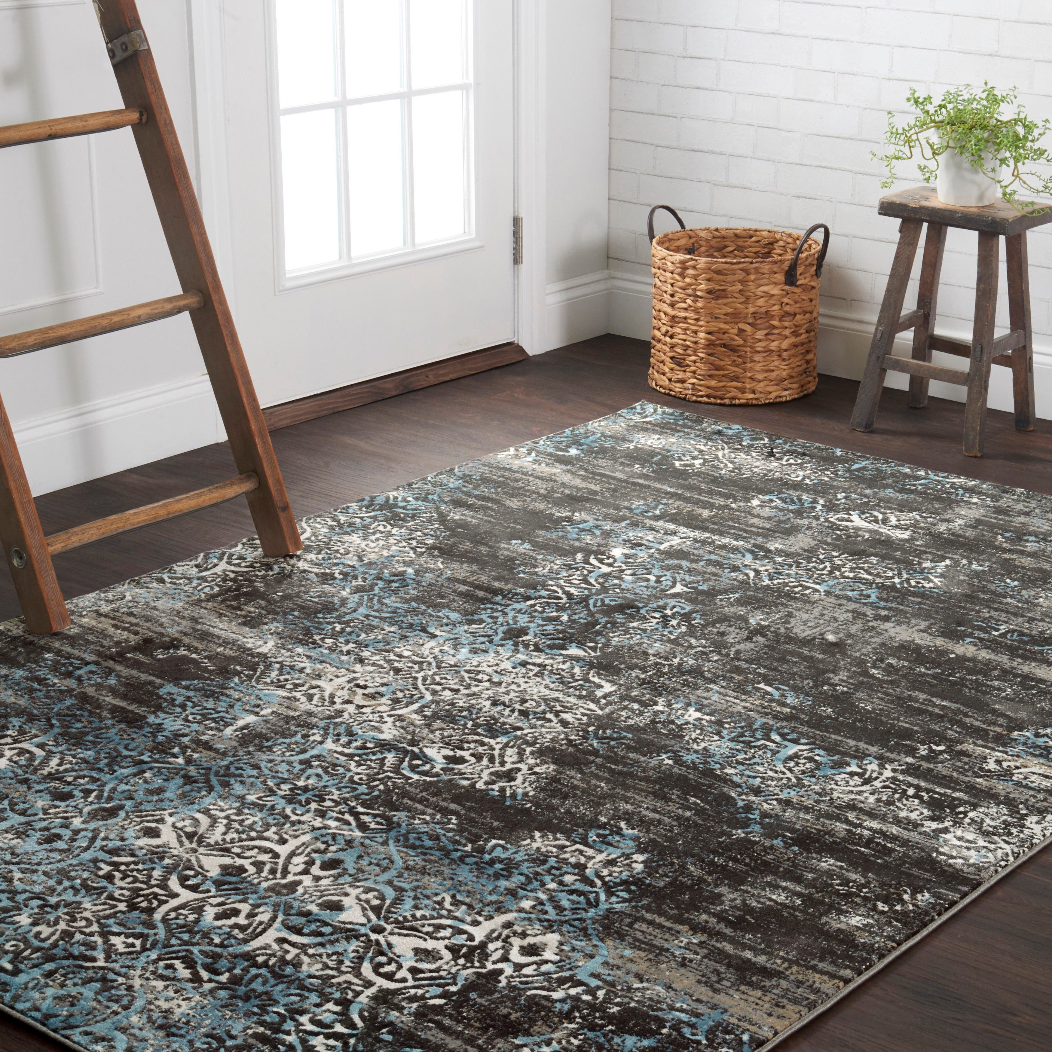 Distressed Antique Dark Grey/ Blue Vintage Inspired Rug - 12' x 15' (Charcoal/ Blue (12' x 15'))