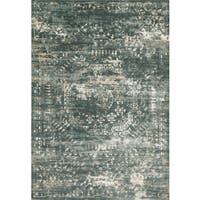 Distressed Antique Dusty Blue Vintage Inspired Rug - 9'3 x 13'