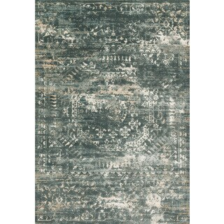 Distressed Antique Dusty Blue Vintage Inspired Rug - 12' x 15'