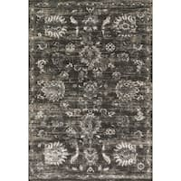 Distressed Antique Charcoal/ Silver Vintage Inspired Rug - 12' x 15'