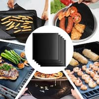 Nonstick BBQ Grill Mats/Baking Sheets/Pan Liners Works on Gas, Charcoal, Electric Grill - Black