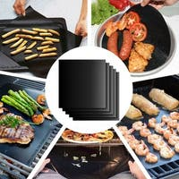 Nonstick BBQ Grill Mats/Baking Sheets/Pan Liners Works on Gas, Charcoal, Electric Grill and More - Black