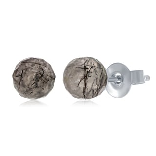 La Preciosa Sterling Silver 6mm Round Natural Quartz Gemstone Black Rutilated Stud Post Earrings