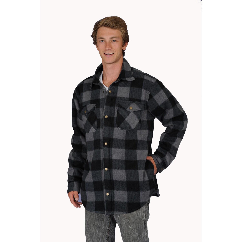 Big Men's thermal lined plaid printed fleece shirt jacket...