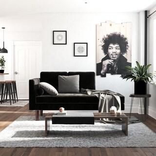 DHP Nola Mid Century Modern Upholstered Black Velvet Daybed/ Chaise