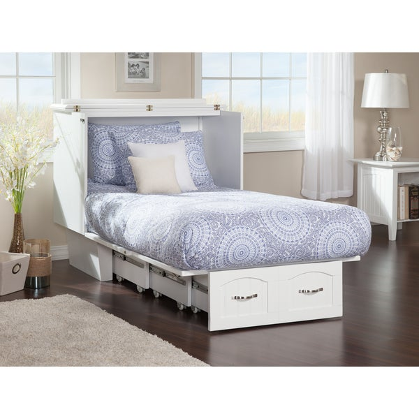 Nantucket Murphy Bed Chest Twin in White with Charging Station & Coolsoft Mattress
