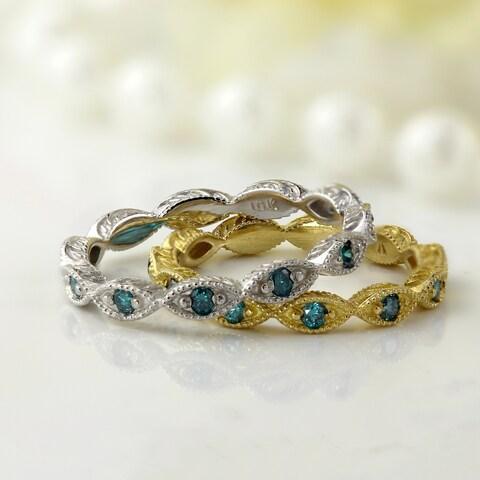 Auriya 10K Gold 1/8ct TDW Petite Ultra-Thin Vintage Blue Diamond Stackable Ring